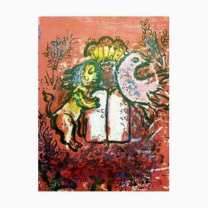 Litografia The Tables of the Law originale di Marc Chagall, 1962