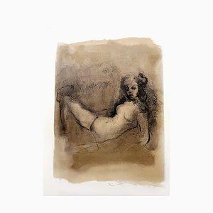 Lithographie Thinking par Leonor Fini, 1964