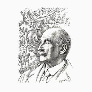 Litografía retrato de Pierre Gandon, 1956