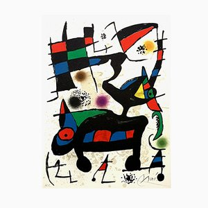 Abstract Composition Lithograph by Joan Miro, 1973