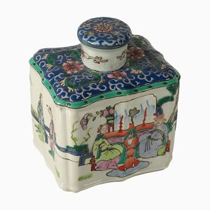 Antique Chinese Porcelain Tea Box with Lid, 1900s