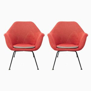 Red Armchairs by Miroslav Navratil, 1950s, Set of 2