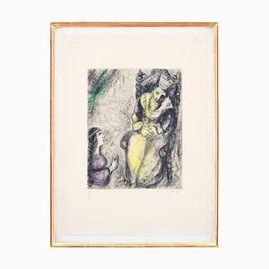 Gravure à l'Eau Forte Bethsabée aux pieds de David par Marc Chagall, 1958