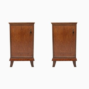 Walnut Veneer Nightstands, 1930s, Set of 2