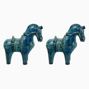 Caballos italianos Mid-Century de cerámica de Aldo Londi para Bitossi, años 60. Juego de 2