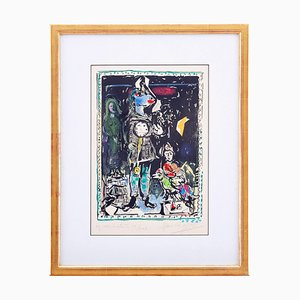 Lithographie Farmer With A Clock par Marc Chagall, 1968