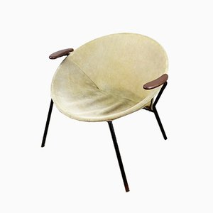 Scandinavian Modern Suede Balloon Chair by Hans Ohlsen for Lea, 1960s