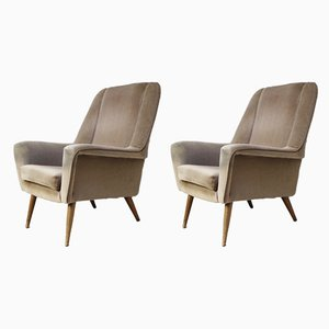 Mid-Century Danish Velour Armchairs, 1960s, Set of 2
