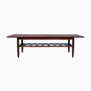 large Mid-Century Rosewood and Braided Leather Coffee Table from TopForm