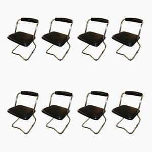 Italienische Esszimmerstühle mit Lederbezügen von Giotto Stoppino für Tecnosalotto, 1970er, 8er Set