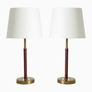 Tischlampen aus Messing & Leder von Bertil Brisborg für Nordiska Kompaniet, 1950er, 2er Set