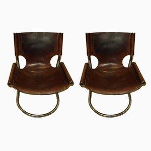Chaises d'Appoint en Cuir et Acier, Italie, 1970s, Set de 2