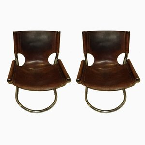 Italian Leather and Steel Side Chairs, 1970s, Set of 2