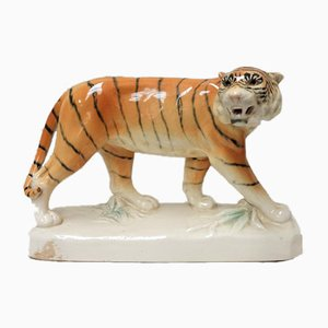 Tiger Skulptur aus Keramik von Royal Dux, 1950er