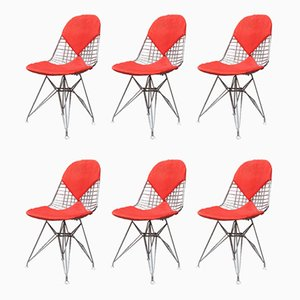 Italian Red Wire Dining Chairs by Charles & Ray Eames for Vitra, 1960s, Set of 6
