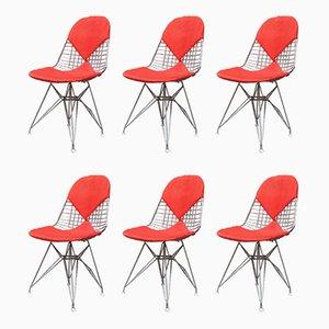 Italienische Drahtstühle mit roten Bezügen von Charles & Ray Eames für Vitra, 1960er, 6er Set