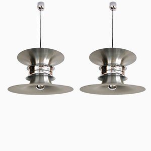Mid-Century Danish Ceiling Lamps by Bent Nordsted for Lyskær Belysning, 1970s, Set of 2