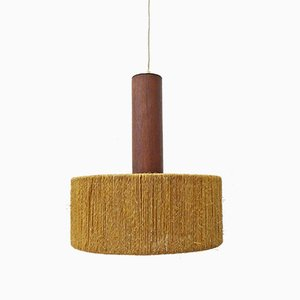 Deckenlampe aus Teak & Sisal, 1960er