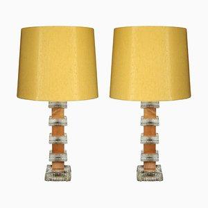 Lámparas de mesa de teca y cristal de Ateljé Glas & Trä. Hovmantorp, años 60. Juego de 2
