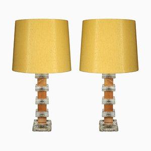 Teak and Crystal Table Lamps from Ateljé Glas & Trä. Hovmantorp, 1960s, Set of 2