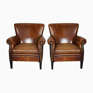 Vintage Dutch Cognac-Colored Leather Club Chair, Set of 2