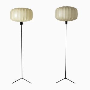Lacquered Metal Resin Floor Lamps by Hans Bergström for Ateljé Lyktan, 1950s, Set of 2