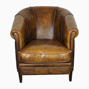 Cognacfarbener niederländischer Vintage Klubsessel aus Leder
