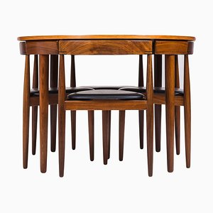 Esstisch & Stühle aus Teak von Hans Olsen für Frem Røjle, 1950er, 4er Set