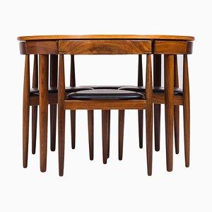 Tavolo da pranzo in teak e sedie di Hans Olsen per Frem Røjle, anni '50, set di 4