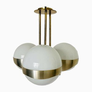 Glass and Brass Ceiling Lamp from Lamperti, 1970s