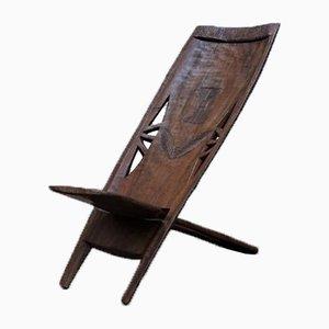 Chaise d'Appoint Africaine Mid-Century Sculptée à la Main