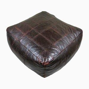 Otomana de cuero marrón oscuro de de Sede, años 70