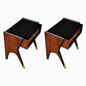 Mid-Century Italian Rosewood Veneer Nightstands, 1950s, Set of 2