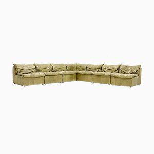 Olive Green Leather Modular Sofa from Laauser, 1970s