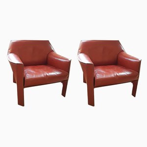 Model CAB 415 Lounge Chairs by Mario Bellini for Cassina, 1980s, Set of 2