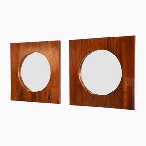Espejos de pared daneses grandes de teca, años 60. Juego de 2