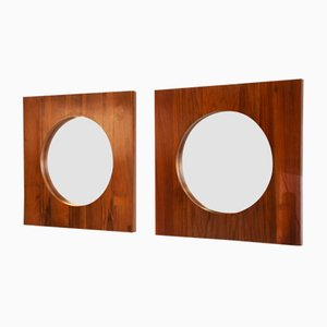 Large Danish Teak Wall Mirrors, 1960s, Set of 2