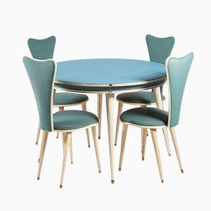 Juego de mesa y sillas de comedor Mid-Century de Umberto Mascagni, años 50. Juego de 5