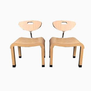Birch Model Moment Side Chairs by Ruud Jan Kokke for Kembo, 1990s, Set of 2