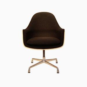 Drehstuhl mit Schale aus Glasfaser & Bezug aus Sackleinen von Charles & Ray Eames für Vitra, 1970er