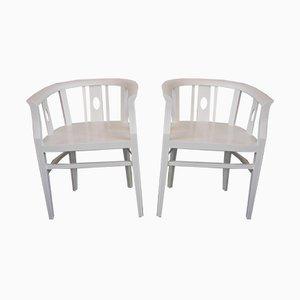 Antique Art Nouveau White Armchairs, Set of 2