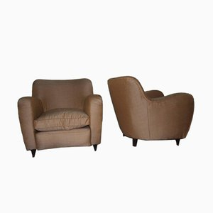 Italian Brown Armchairs, 1950s, Set of 2