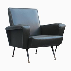 Mid-Century Faux Leather and Brass Armchair, 1950s