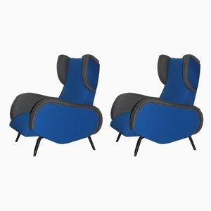 Italienische Mid-Century Sessel in Blau & Grau, 1950er, 2er Set