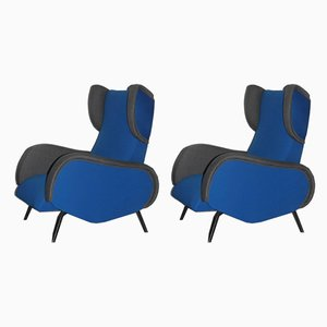Mid-Century Italian Blue and Grey Armchairs, 1950s, Set of 2
