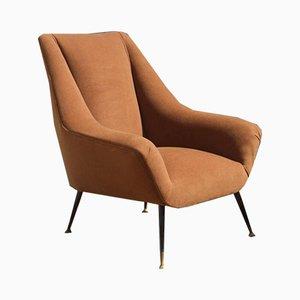 Italienischer Mid-Century Sessel in Braun, 1950er
