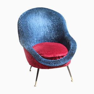 Italienischer Mid-Century Sessel in Blau & Rot, 1950er