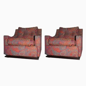 Art Deco Italian Floral Armchairs, 1940s, Set of 2
