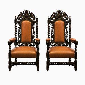 Antike viktorianische Armlehnstühle aus Eiche & Leder, 2er Set