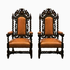 Antique Victorian Oak & Leather Throne Armchairs, Set of 2